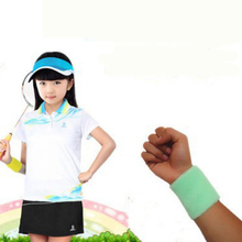 KAWO 7*7cm Gym Wristbands Hand Towel Wrist Support for Tennis Basketball Sports Sweatbands Cotton Wrist Bracer for Kids Child(China)