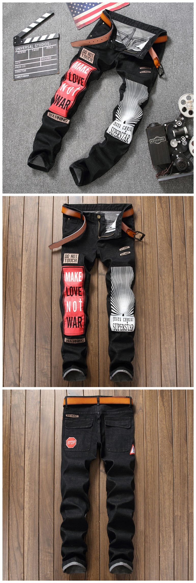 Men Skinny Jeans Stretch Destroyed Ripped Fashion Jeans For Men Casual Straight Denim Hip Hop Male Harem Pants European style (6)