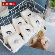 YUFREE 1 Pair White Color Embroidery Character Expression Avatar Socks Cute Women Ladies Girl Cotton Socks 6 Styles WA-51(China)