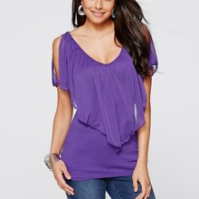 Fashion sexy women Summer Casual Purple Loose Cap Chiffon Sleeve Blouse Tops Tee Shirts HT