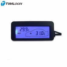 Black Digital Car Thermometer Brand Mni DC 12V Car Inside/Outside Thermometer Blue Backlit With 1.5M Cable Sensor FreeShipping(China)