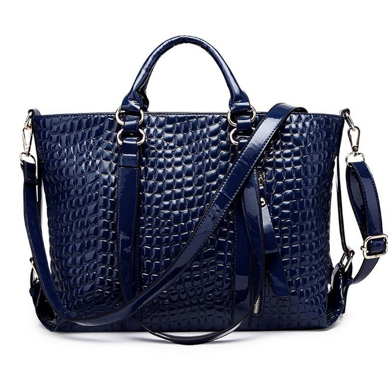 High Quality Retro Women Leather Handbag Tote Bags Crocodile Alligator Ladies Messenger Bag Patent PU Leather bolsas feminin<br>