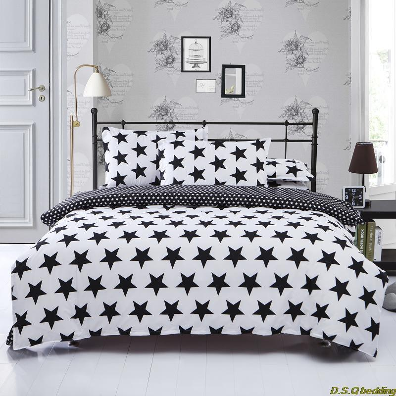 New Black White Star King Queen Full Size Single Double Bedding Set