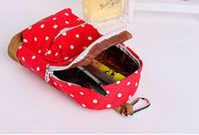 1pc cute Korean Big Capacity Canvas Backpack Polka Dot Pencils Bag Pencil Cases Pen Storage Cosmetic Bags forWomen School Office(China)