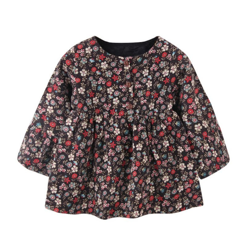Baby Girl Autumn Winter Warm Cotton Bow Above Knee Dress Long Sleeve Princess Floral Dresses <br><br>Aliexpress