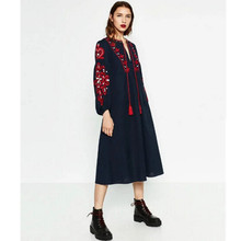 Ethnic Tassel Lacing up O neck Flower Embroidery Dress 2016 New Autumn Woman Loose Lantern sleeve Mid Long Dresses Femme s m l(China)