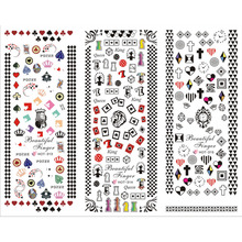 3 PACKS / LOT CARTOON POKER SWEET HEART CROWN NAIL CROSS TATTOOS STICKER WATER DECAL NAIL ART HOT313-315(China)