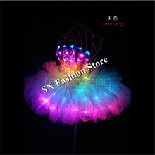 TC-143 Full color LED colorful light costumes party skirt wear ballroom dance ballet bar wedding dress clothesprogramming design
