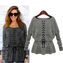 2017 Autumn Winter High Fashion Sweater Women Batwing Sleeve Waist Rope Elastic Slim Crochet Pullover Sweaters 2 Colors