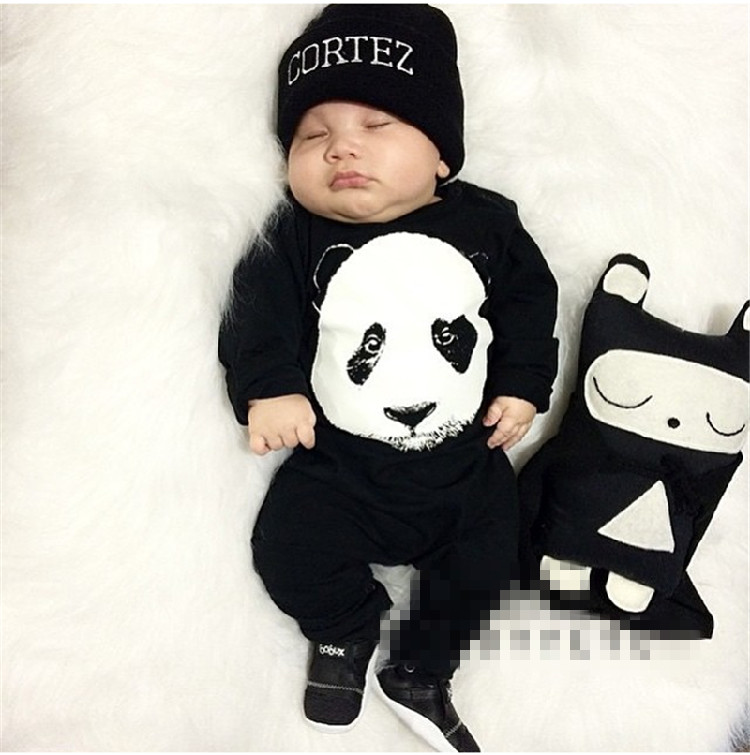 2017 Fashion Cool Baby Boy Clothes Set Black Long Sleeve Panda Clothing Newborn