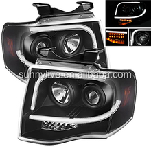 2007-2013 Year For FORD Expedition LED Angel Eyes Head Lamp Headlights front light Black Housing SN