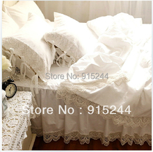 LUXURY Girls Bedding set Elegant White sweet european hook needle lace Bedskirt satin cotton duvet cover Queensize freeshipping(China)