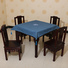 Square Linen Embroidered pattern waterproof oilproof and anti-heat blue table cloth( various size can be customized)