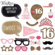 FENGRISE 20 Pieces Sweet 16 Birthday Photo Booth Props Baby Shower Funny Glasses Happy 16th Birthday Party Decoration Kids Gift