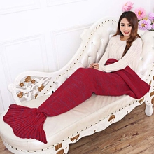 Outdoor Travel Adults Knitted Mermaid Tail Blanket Soft Sleeping Bag 100% Acrylic Warm Blanket Pure Color Women Female Girl(China)
