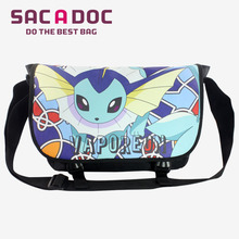 Cute Pokemon Vaporeon Students Boys Girls School Bags Double Buckle Shoulder Bag Cartoon Anime Cool Travel Bag Messenger Bags(China)