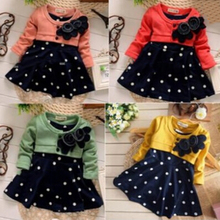 Cotton Baby girl christmas dresses clothes Kids Children's Lovely princess Two Tones Splicing Polka Dots DressDQ0154