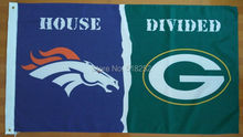 Denver Broncos Green bay packers House Divided Flag 3x5 FT 150X90CM NFL Banner 100D Polyester Custom flag603, free shipping(China)