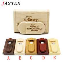 JASTER Customize LOGO wooden + Box Personal LOGO pendrive 4GB 8GB 16GB 32GB usb Flash Drive U disk Memory stick wedding Gift(China)