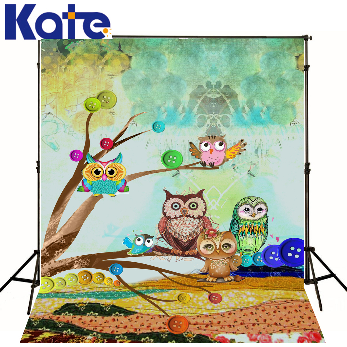 Kate Baby Photography Backdrops Owl Button Tree Photocall Painting Color Backgrounds Fotografia For Photo Studio J01686<br>