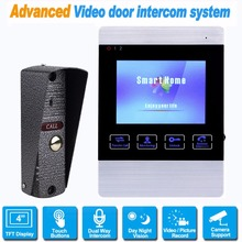 Video Door Phone Wired 4 inch Doorbell Monitor Video Intercom 800 TVL IR Camera Support Security CCTV Camera&SD Card F1368D