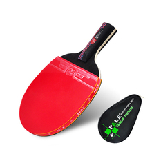 One Piece NEW Beginner Carbon Fiber Table Tennis Bat Racket Long Short Handle Ping Pong Paddle Racket Pimples With Carry Bag(China)