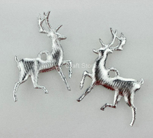 100pcs Glitter Metallic Silver Christmas Reindeer Appliques 90X60mm Christmas Tree Ornament Party Decor Home Craft DIY Supplies(China)