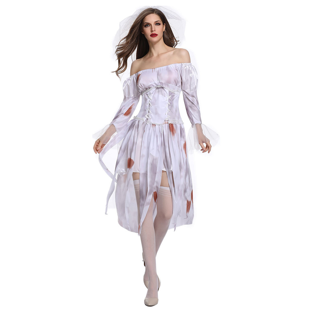 Halloween Ghost Festival Ghost Bride Costume Women's Adult Dress White Gloves Zombie Play Costume Spooky Bride