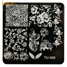 HAICAR Love Beauty Female  1pcs/lot DIY Rose Flowers Nail Art Image Stamp Stamping Plates Manicure Template 161130 Drop Shipping