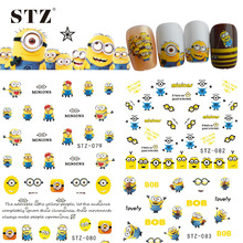 1pcs 2017 Cute Cartoon Designs Christmas Gift DIY Sticker Nail Art Water Transfer Decals for Manicure Nails Accessory STZ075-085