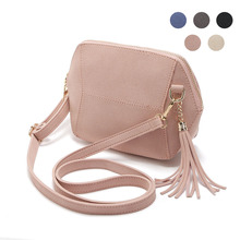 Fashion Women Message Bags Frosted Imitation Leather Tassel Decorate Single Shoulder Bag Ladies Girls Crossbody Handbag