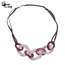 Long Rope Leather Necklace with Big Pendant Fashion Resin Statement Necklace Jewelry For Women Christmas Gifts(China)