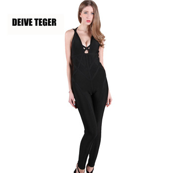 DEIVE TEGER winter Brand New Sexy Solid Color Backless Deep V-Neck Fashion Bandage Rompers Women Jumpsuit HL2086