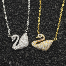 GORGEOUS TALE Vintage CZ Swan Necklace for Women Bijoux Collier Gold Best Friends Crystal Graduation Gift Tattoo Choker Necklace