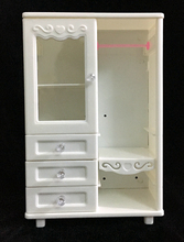NK One Set Doll Accessories White Wardrobe Closet For Barbie Doll Princess Dreamhouse Furniture Miniature Best Gift For Child(China)