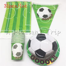 Soccer cupboard glass flag plate 31pcs / lot boy's favorite football fan theme party children like birthday party decorations(China)