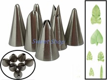 Set of 7pcs Russian Tulip Icing Piping Nozzles Cake Decoration Tips DIY Cake Tool Bakeware Set Leaf