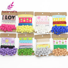 Lucia Crafts 8-25mm Multi Colors Size Pompom Ribbons Set Trim For Patchwork Handmade DIY Materials Accessories 1pc/lot 040055014(China)
