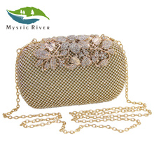 Mystic River Women Rhinestone Bags Flower Evening Diamond Bag Ladies Wedding Party Clutches Purse Silver Gold Black Small