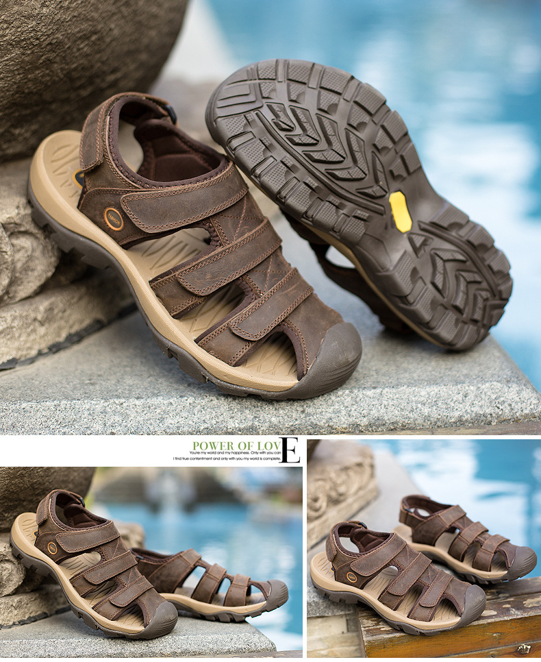 Summer Man Sandals Beach Shoes 2018 High Quality Genuine Leather Prevent Slippery Wear-resisting Outdoor Sandals Large Size 46 20 Online shopping Bangladesh
