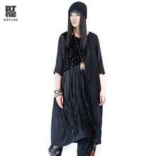 Outline Spring Vintage Dress Women Solid Basic O-neck Three Quarter Sleeve Dress Plus Size Tassel Patchwork Long Dress L161Y705