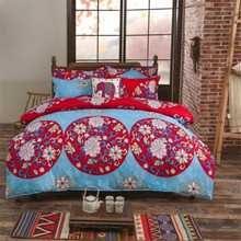 UNIKEA Boho Mandala Flowers Bedding Set (Reversible Duvet Cover + Bed Flat Sheet + Pillow Case) Twin Full Queen King Size Red &