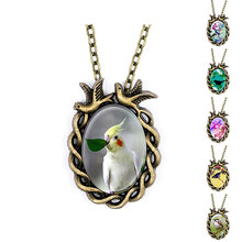 Vintage Style Bird Pendant Parrot Picture Maxi Necklace For Women Girls Best Friend Gift Jewelry Multi Color Handmade Necklace