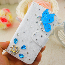 Case for Meilan Note2 Blue butterfly diamond PU Leather Phone bag protection Case for Meizu Note2 bags Free shipping