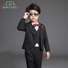 Boys Brand Suits Sets Weddings Kids Prom Blazer Birthday Clothes Children Classic Costume Formal Dress Jackets Vest Pants F38(China)
