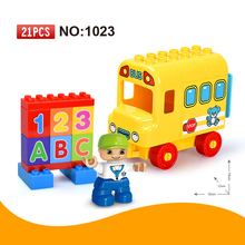 21pcs Large Size School Bus Building Blocks Set DIY Educational Big Bricks Toys for Children compatible duploe Great gift(China)