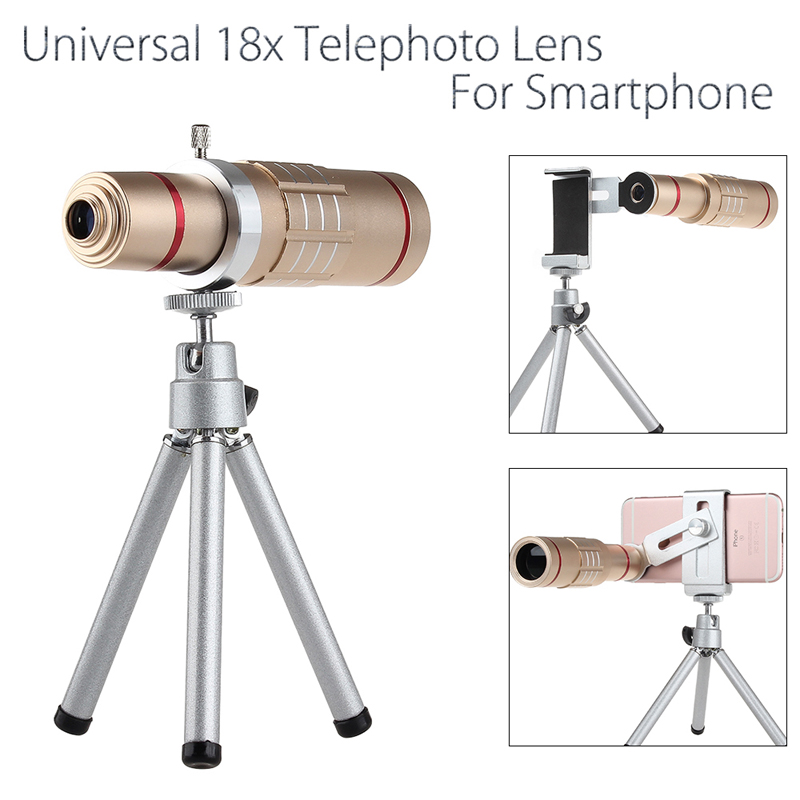 Universal 18x zoom lens Magnification Optical Camera Telephoto Lens Telescope With mini Tripod For Iphone Smartphone Gold 1