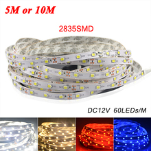5M or 10M /Pack 2835 SMD More Brighter Than 3528 5050 SMD LED Strip light DC 12V 60LEDs/M Indoor Decorative Tape White Blue Red
