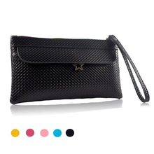 New Fashion Famous Small Women Bags Knitting Women Clutch Purse Solid High Quality PU Leather Purse Phone Bags Gift for Her(China)