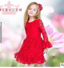 Free shipping Spring red flower bud silk is soft in full dress of the girls lined with cotton add cotton lace 2-7 years